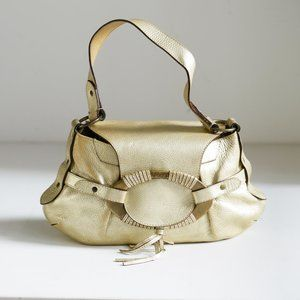TODS's Y2K Giant Bucle Gold Pebbled LEather Bag
